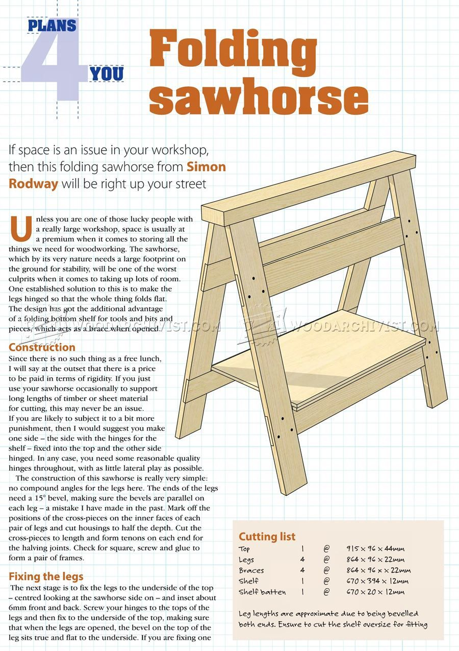 folding sawhorse plan - workshop solutions | nativity