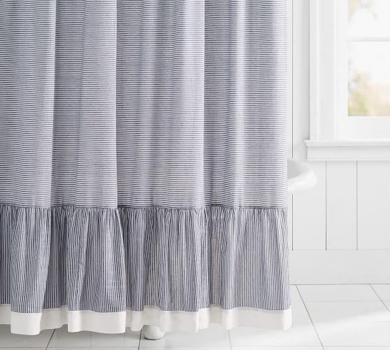 Mini Stripe Ruffled Shower Curtain Farmhouse Shower