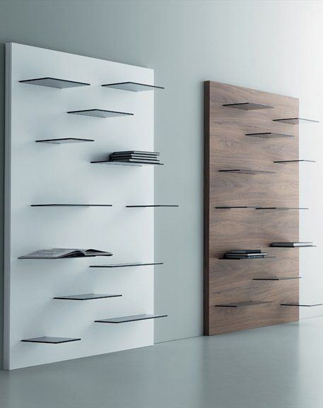 Open wall-mounted walnut bookcase GALAGA by @Miniforms   #Design Andrea Lucatello #books #minimal
