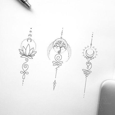 "© Tattoo Artist Fedor Nozdrin on Instagram: ""Available designs. . . . . #geometrictattoo #geometrictattoodesign #unalome #unalometattoo #moontattoo #lotustattoo #treetattoo #tinytattoo…"""