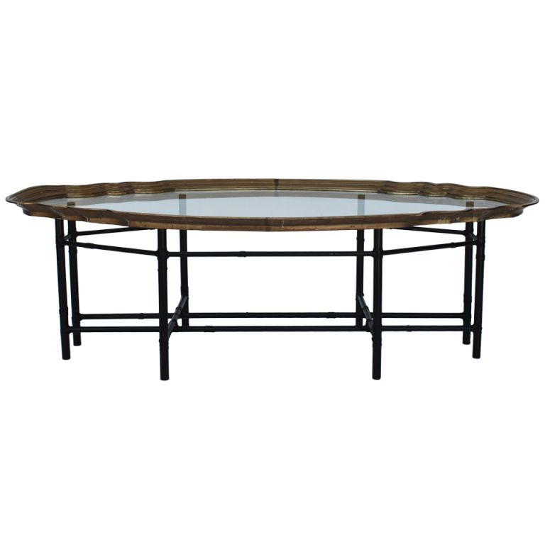 Awesome 1stdibs | Faux Bamboo Brass Tray Top Coffee Table