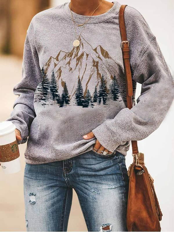 Loose casual crew neck mountain forest print Sweat