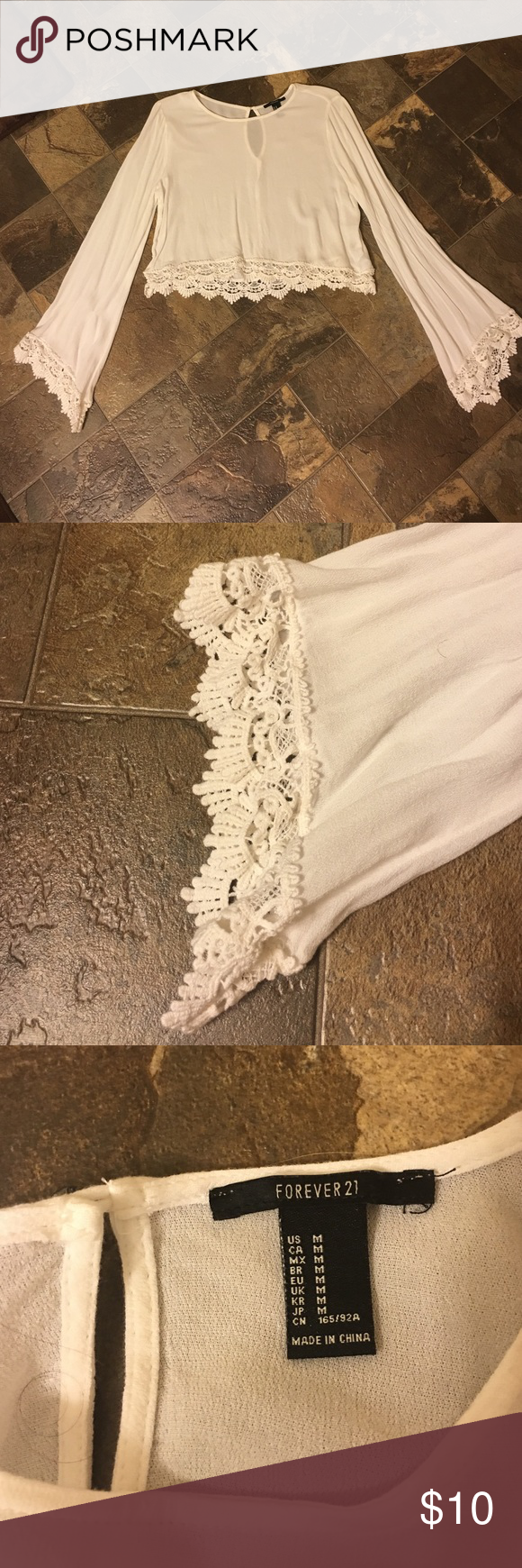 Forever 21 Crop Top with Crochet Design New - Never Worn - Cream Color Forever 21 Tops Crop Tops