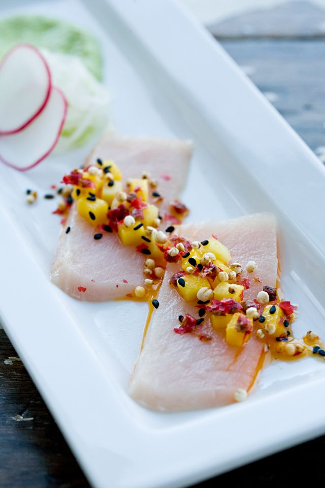 Cured Hamachi With Mango Peppercorn Salsa And Wasabi Edamame Puree Jen Laceda Tartine And Apron Strings Food Yummy Food Amazing Food