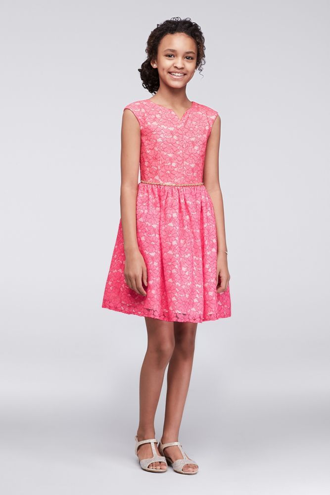 Lace Girls Dress with Beaded Belt - Rose (Red), 10 | *Wedding ...