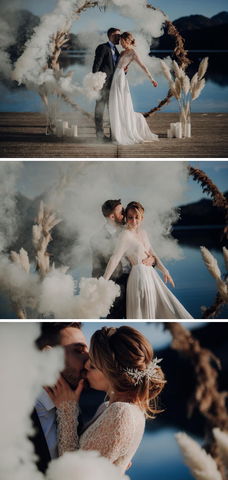Moderne Dusty Blue Winterhochzeit mit Pampasgras – Hochzeitskiste – Dress