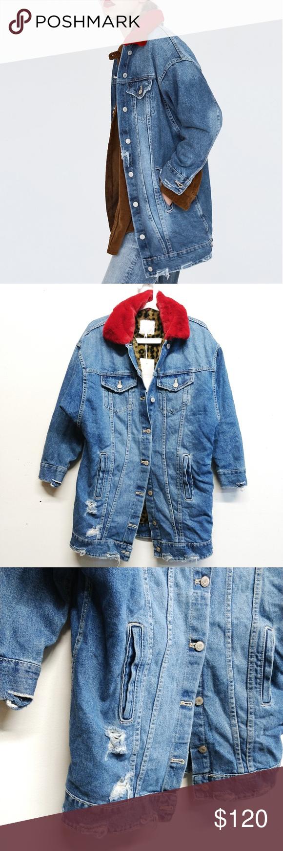 Nwt Zara Long Denim Jacket With Faux Fur Collar M Long Denim Jacket Denim Jacket Faux Fur Collar [ 1740 x 580 Pixel ]