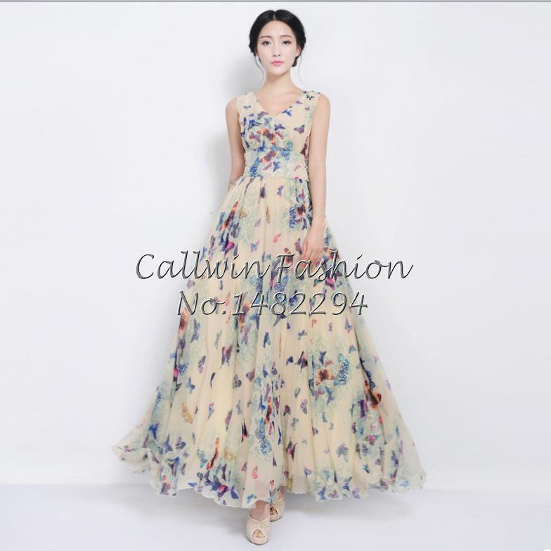 New 2014 Women Summer Maxi Dresses Long Beach Dress Woman Butterfly Chiffon Dress Print Dresses Plus Size-in Dresses from Apparel & Accessories on Aliexpress.com | Alibaba Group