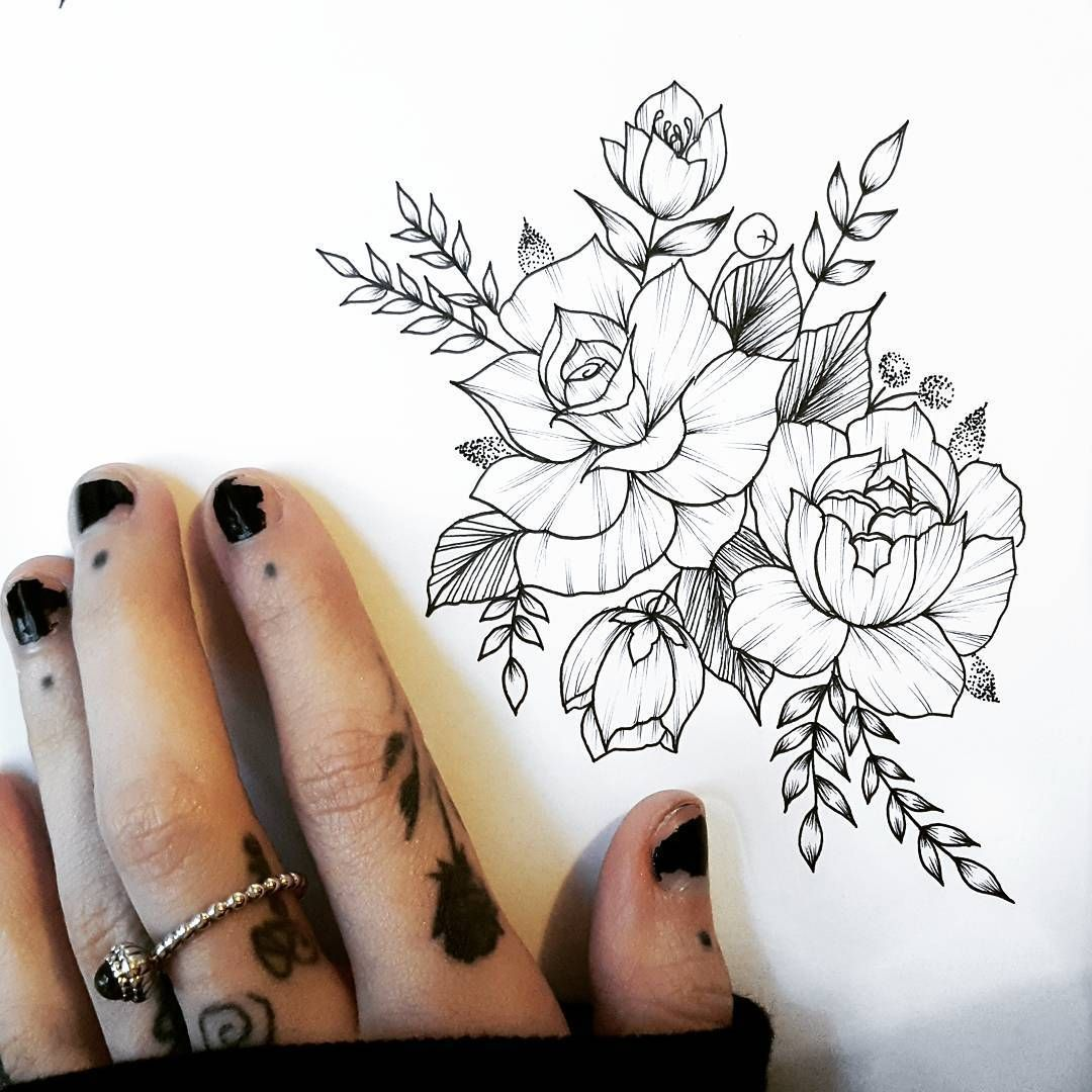 Floral Illustration Botanical Tattoo Design Blackwork Femaletattooist Feminine Rose Tattoos Feminine Tattoos Ink Tattoo
