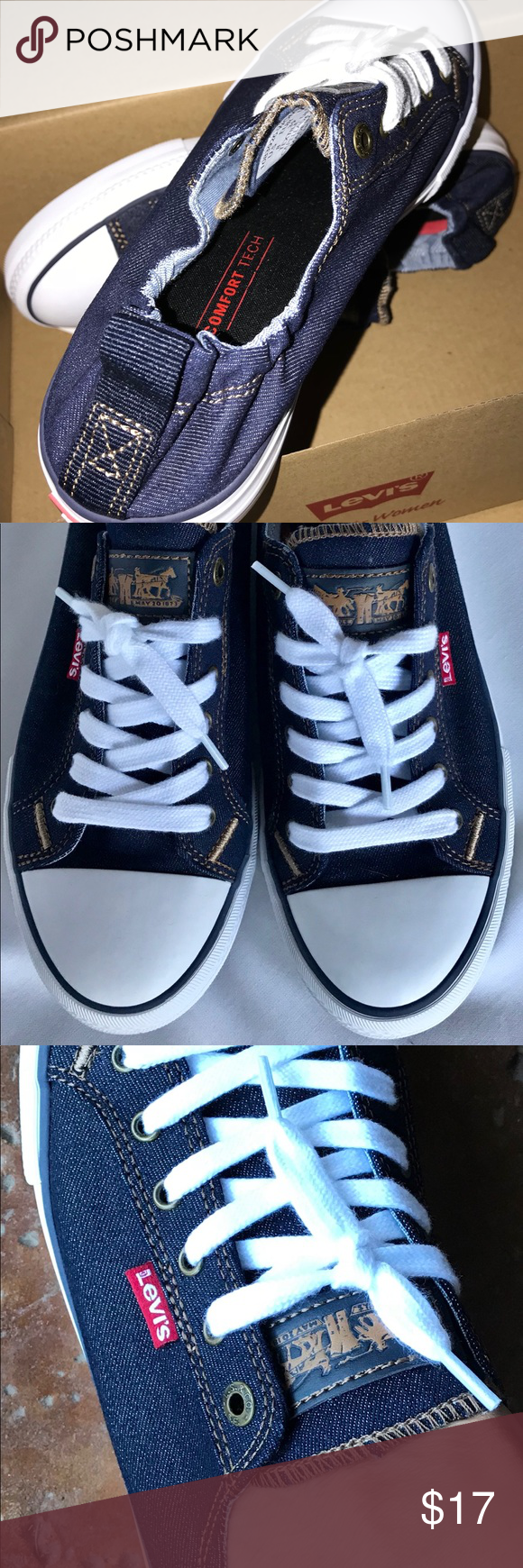 f716ac16333f6e Levi s Women Stan G Dark Denim Canvas Sneakers 8 Tried these on once never  wore them