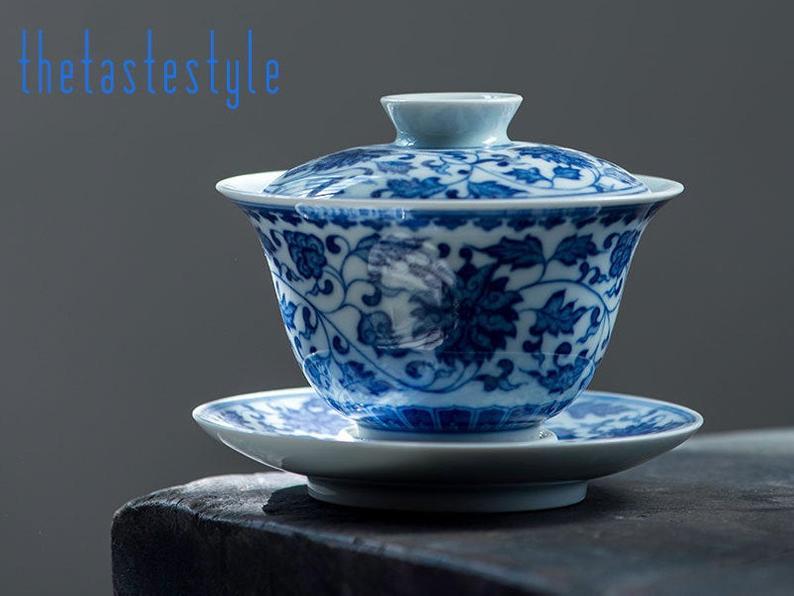 THETASTESTYLE EXQUISITE Jingdezhen Gaiwan Porzellan Blau Weiß | Etsy