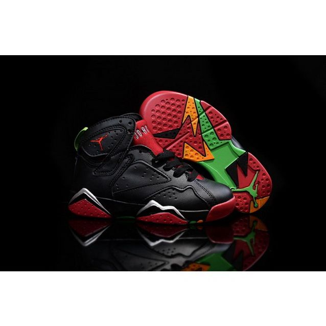 more photos f3a1f 5f653 Kids Nike Air Jordan 7 Retro Shoes Black Red Green