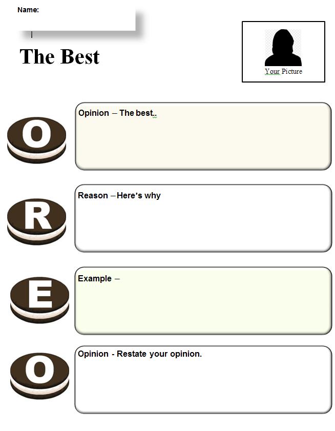 Oreo Template Graphic Organizer Oreo Opinion Writing Oreo Opinion Writing Opinion Writing Oreo Writing