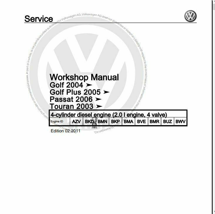 documentation d'atelier Golf 5 essence diesel anglais et
