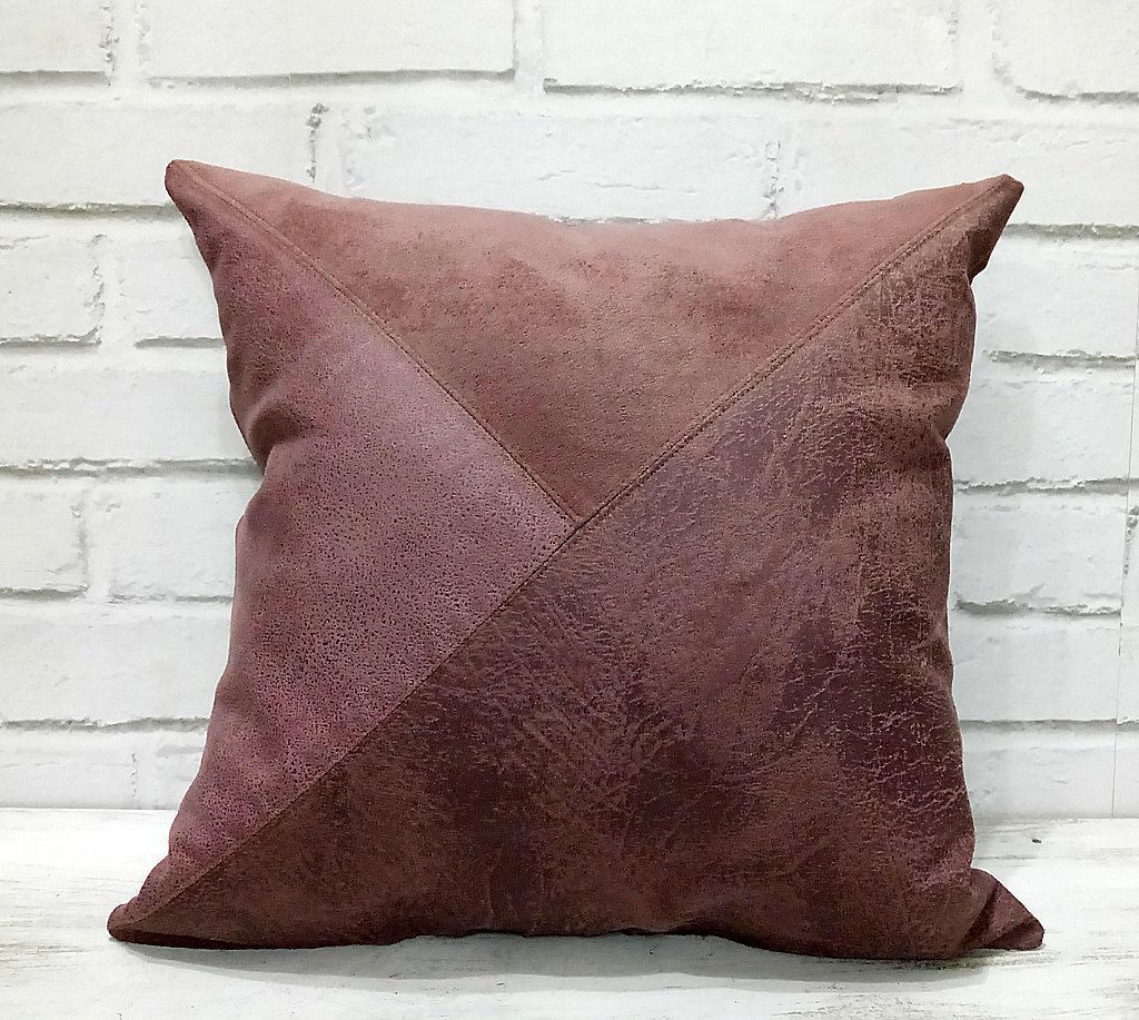 Burgundy vegan leather fabric pillow coverdiagonal triangle design