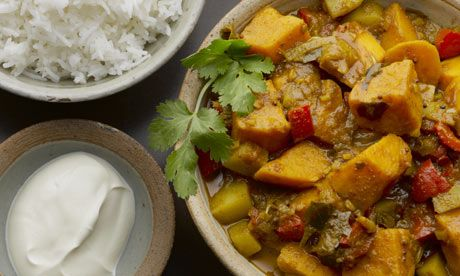 Yotam Ottolenghi's two potato vindaloo with rice and yoghurt. Photograph: Colin Campbell