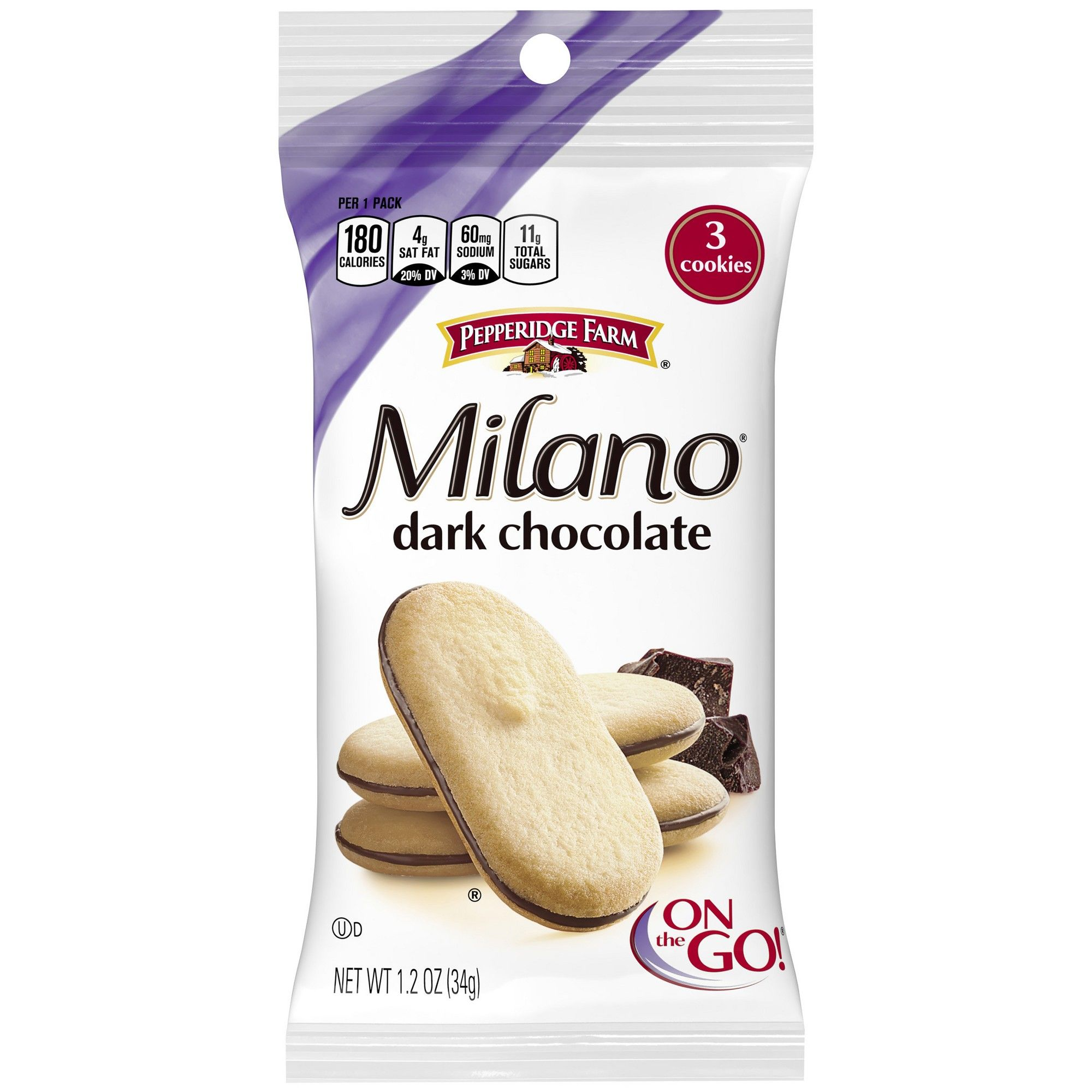 Pepperidge Farm Milano Dark Chocolate Cookies 1 2oz Single Serve
