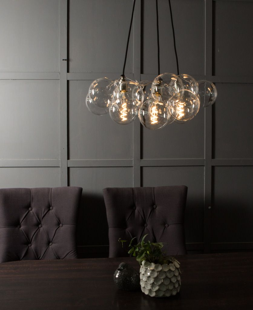 Bubble Glass Chandelier Ceiling Light, Statement Glass Pendant Light