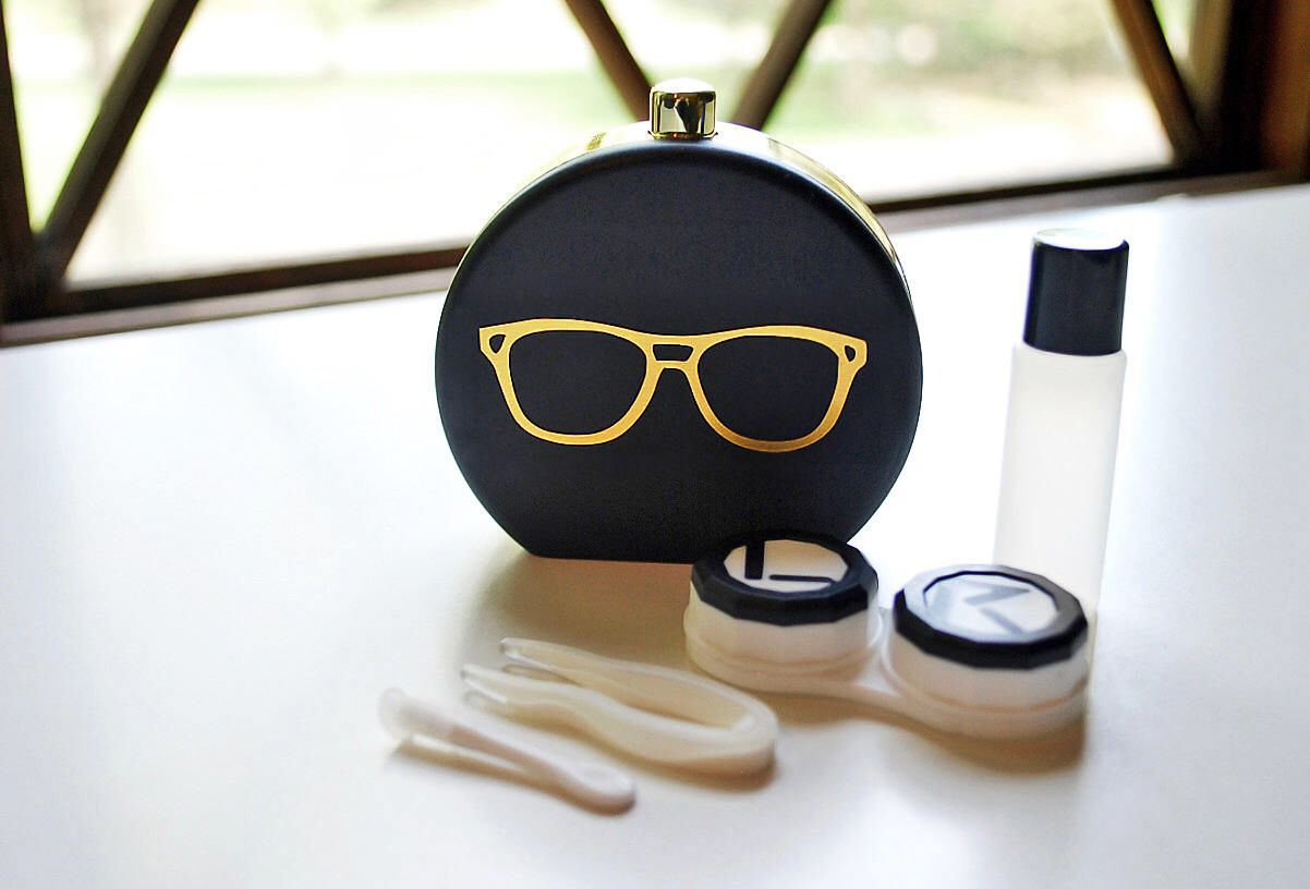 Black Contact Lens Case And Travel Kit Gold Foiled Eye Etsy Contact Lenses Case Contact Lenses Black Contact Lenses