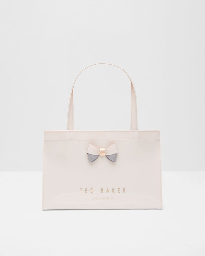 57ffca3e5f Colour block bow small shopper bag - Pale Pink