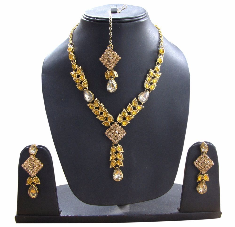 Latest indian wedding charm necklace u earrings set bridal floral