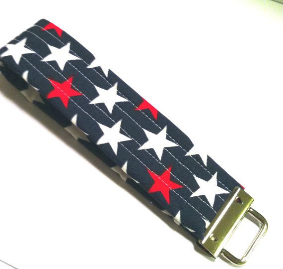 Fabric Covered Key Fob featuring Navy Blue by thenosweatshop, $6.00