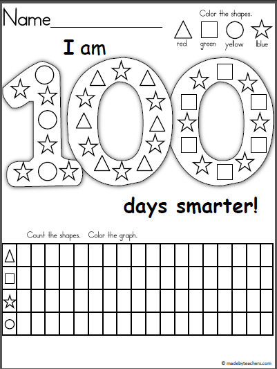 Free graphing and shape recognition activity for the 100th