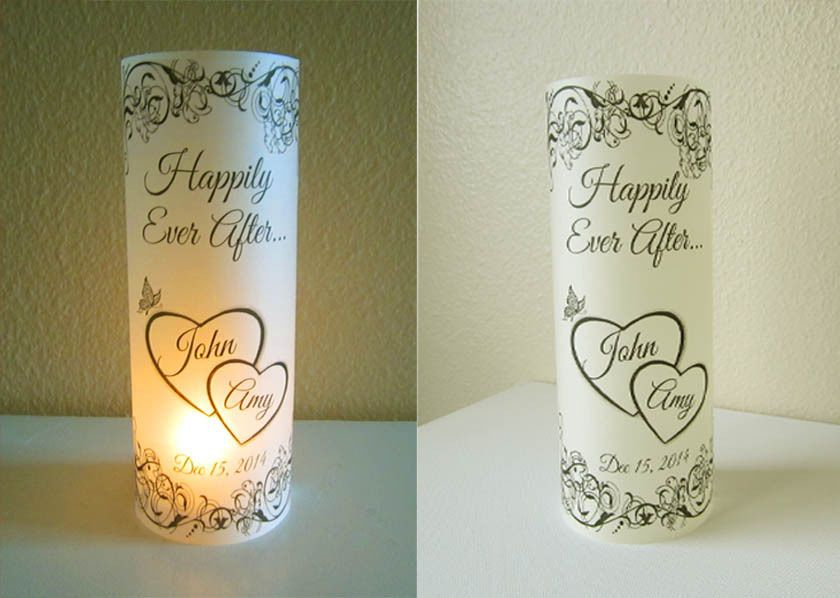 10 Personalized Wedding Centerpiece Luminaries hearts Table Decoration  - vellum paper printed on computer