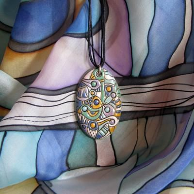 Amazon Jungle Silk scarf ceramic pendant