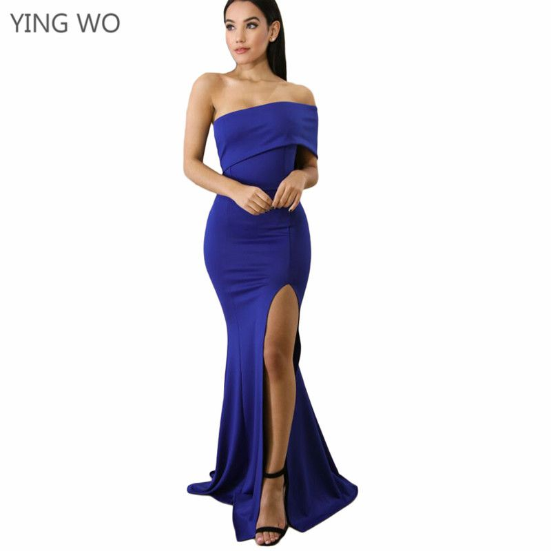 edd2648fb9 Find More Dresses Information about Blue/Red/Black Off Shoulder One Sleeve Slit  Maxi Party Dress Hot Sexy Nightout Wear Back Zipper High Legs Floor length  ...