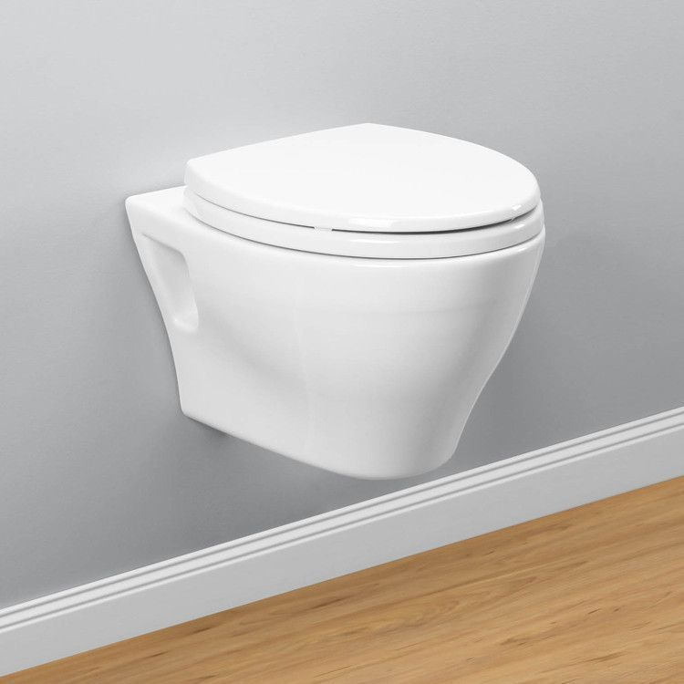 TOTO CT418FG#01 Aquia Wall-Hung Dual-Flush Toilet, 1.6 GPF & 0.9 GPF, Elongated Bowl | Cotton/White with SanaGloss