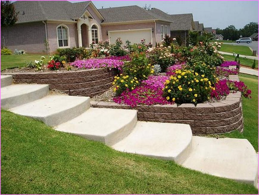 Landscaping Ideas For Sloping Gardens stunning sloping garden landscape designed with grey retaining wall ideas made from stone and concrete flooring Sloping Garden Design Plans Google Search