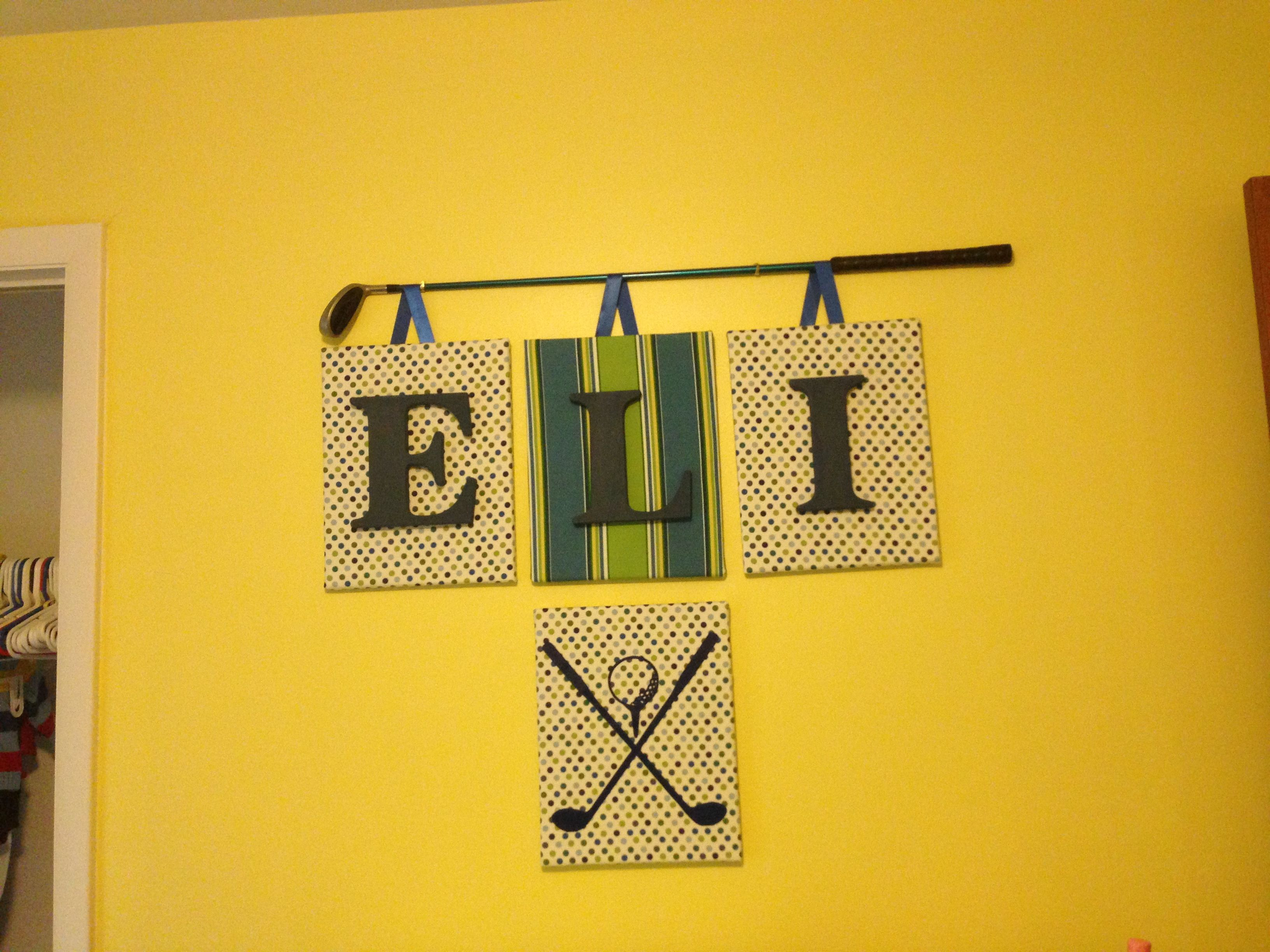 Hunter and I are putting the finishing touches on Eli\'s room ...