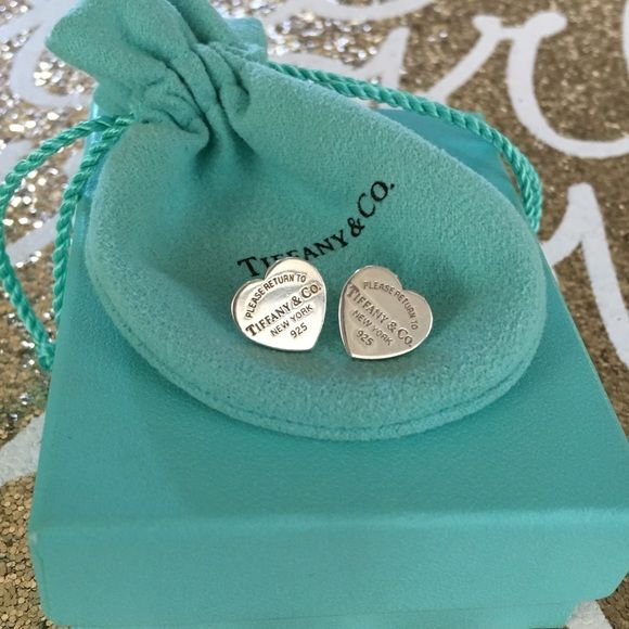 Tiffany and co rtt LARGE rare heart earrings studs 100% authentic - come with original butterfly backs hallmarked tco and original pouch - gorgeous large sized stud earrings. .925 sterling silver ((No trade on TCO & bundle discounts do not apply)) Tiffany & Co. Jewelry Earrings