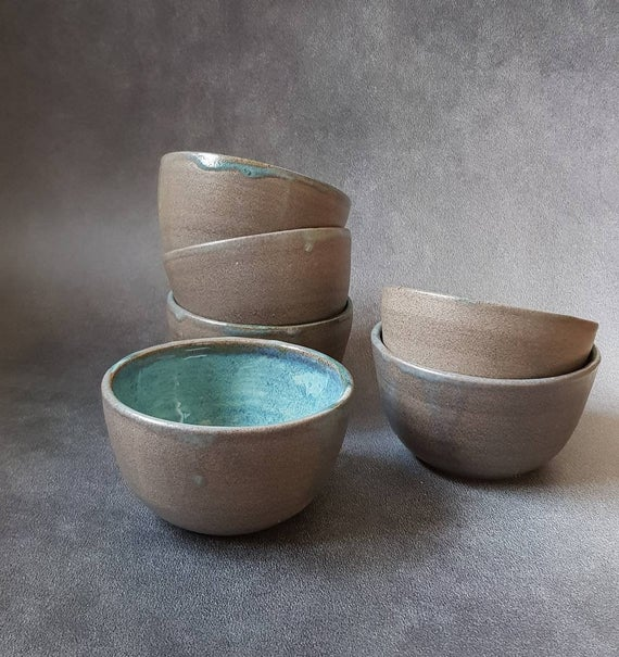 Set of 6 Ceramic Bowls, Blue Ceramic Bowl, Pottery, Ceramic Bowl, Dessert Bowl, Pottery Bowl, Dish Set, Fruit Salad Bowl, Gift for Newlyweds #ceramicbowls