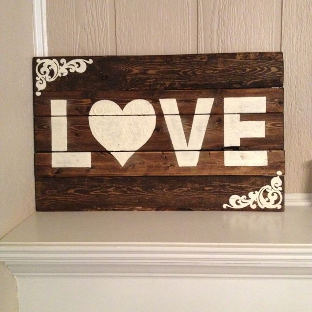 Wooden Love Sign Love Wood Sign Wood Signs Wooden Signs