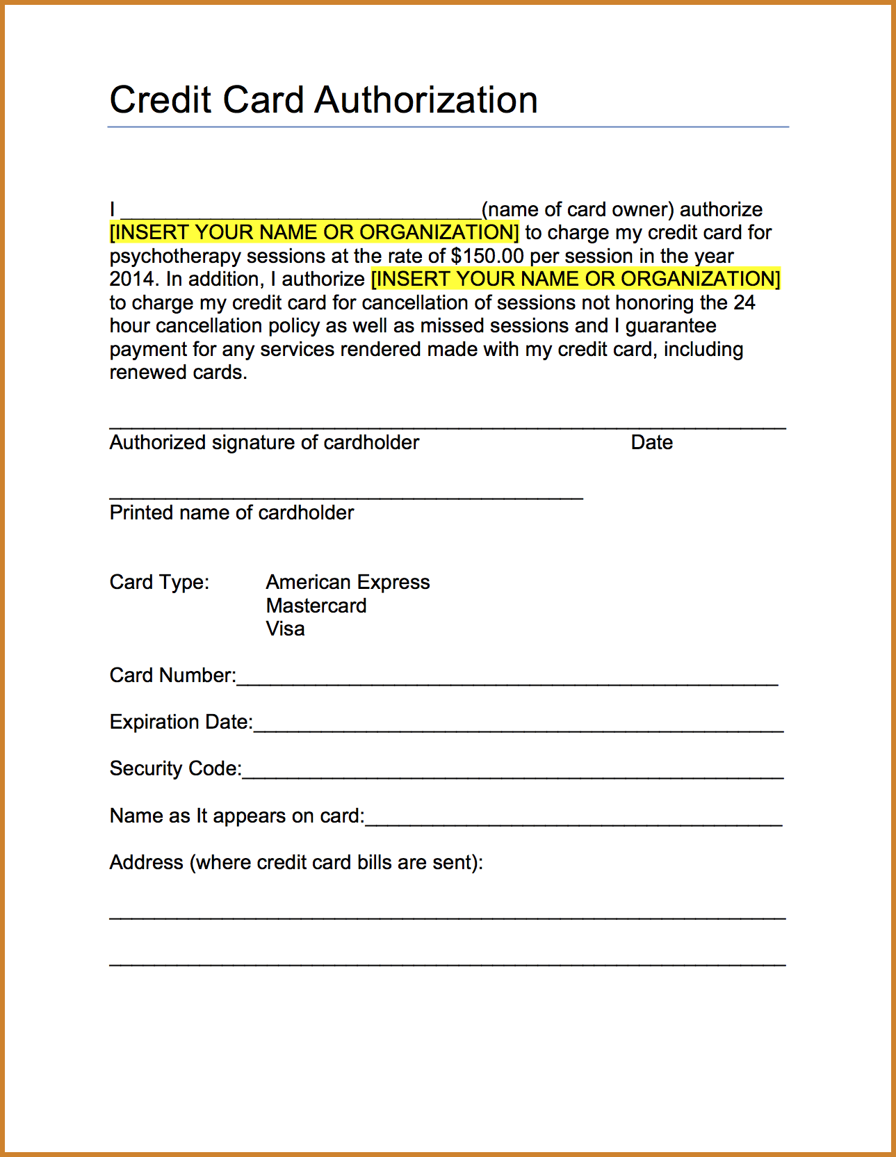 Credit Authorization Form Card Sample Letter Documents Pdf Word