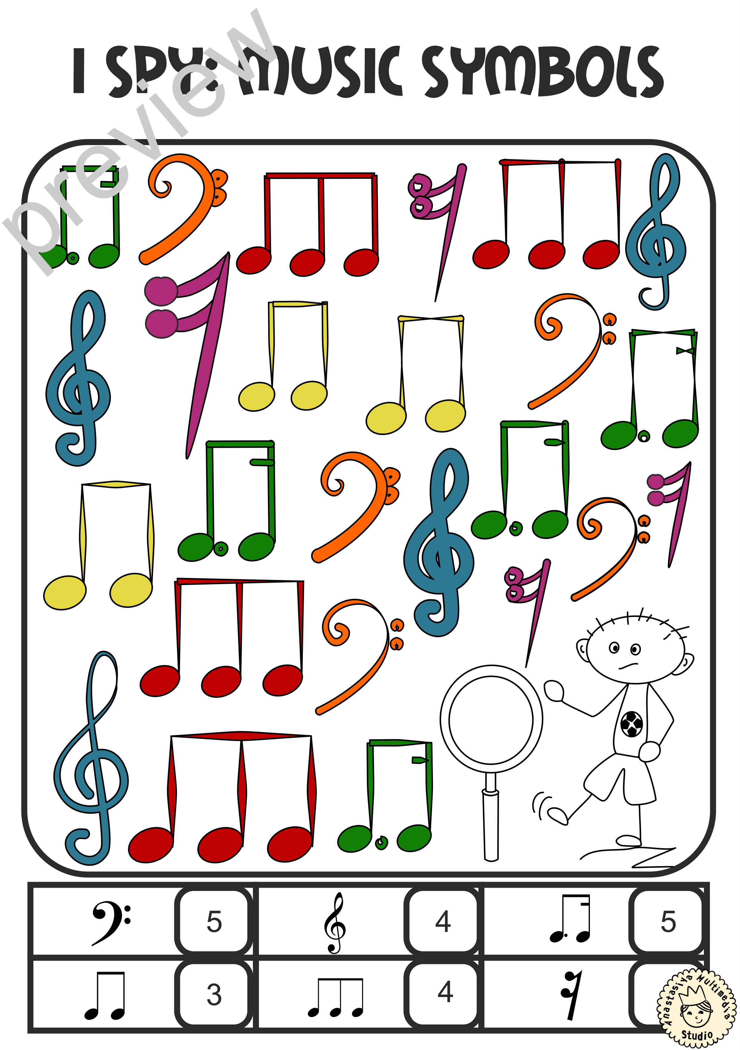 I Spy Music Notes And Symbols Coloring Games In 2018 Music