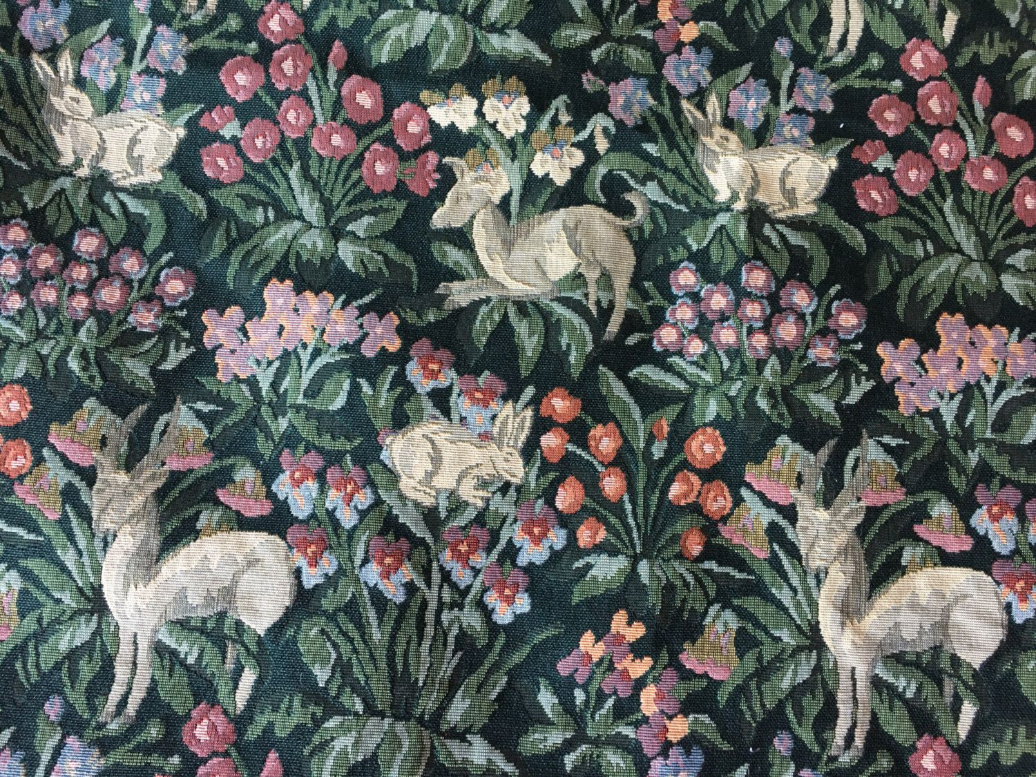 This rabbit and deer tapestry is now live in  my Etsy shop https://www.etsy.com/listing/483077646/vintage-rabbit-deer-floral-tapestry