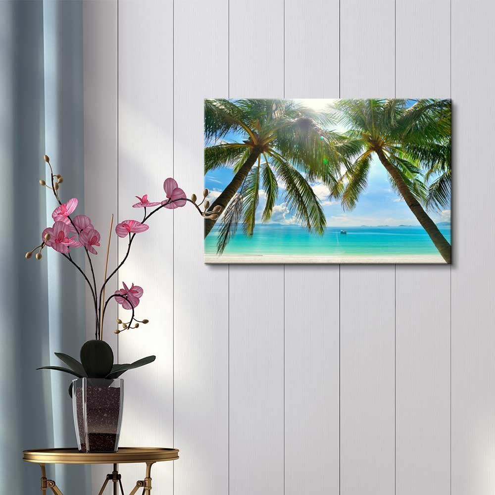 Beautiful scenery landscape sunny beach with palm trees on