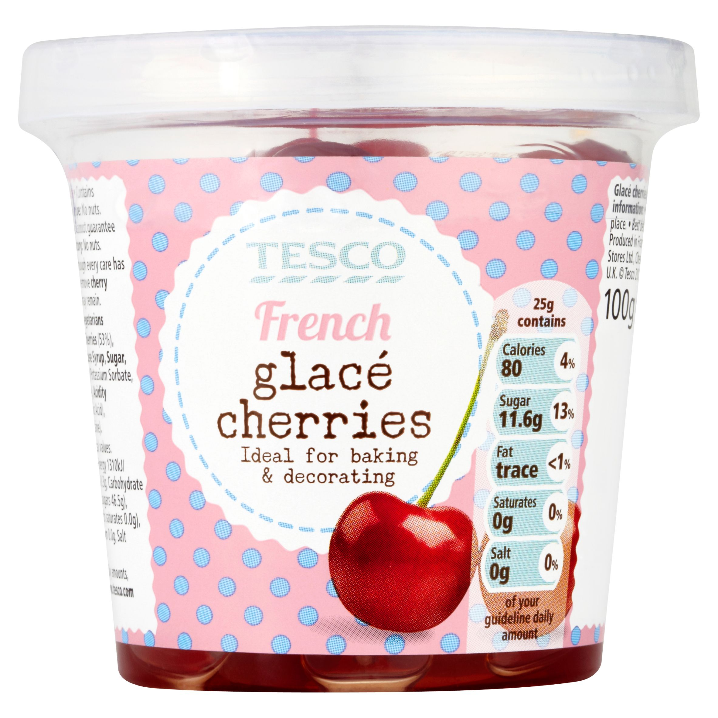 Tesco French Glace Cherries Glace Cherries 100 Calories Tesco