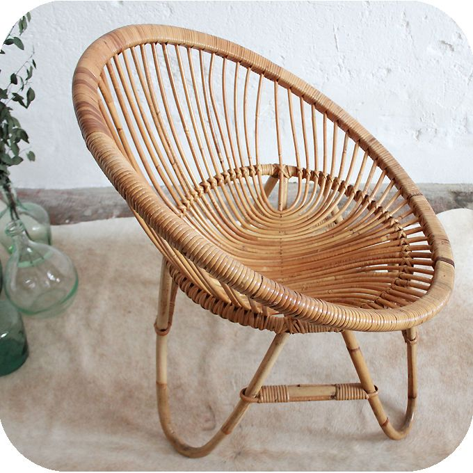 D278 mobilier vintage fauteuil rotin f dise±o