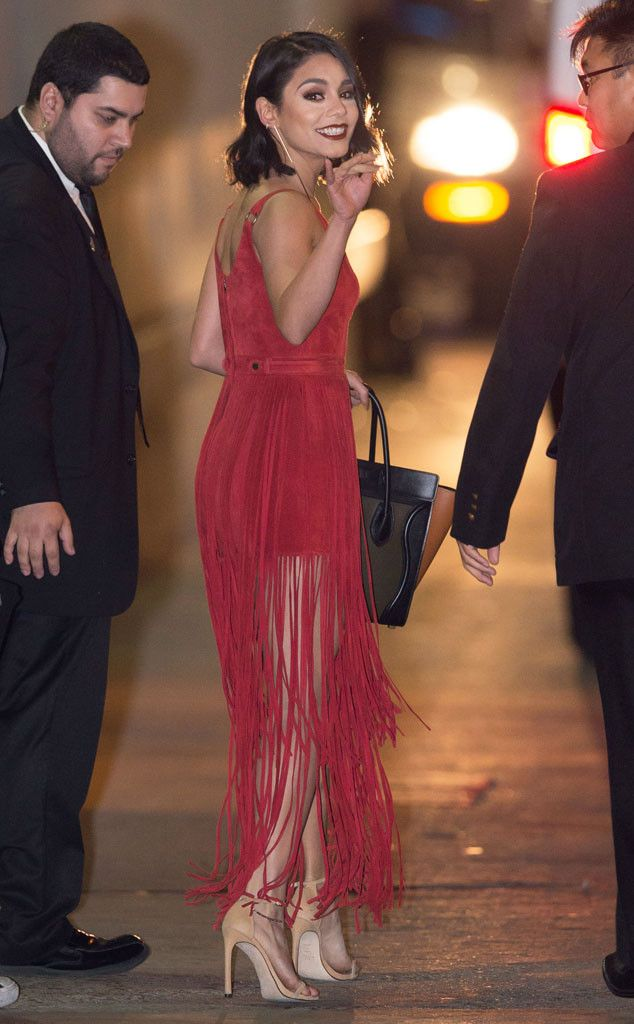 Vanessa Hudgens from The Big Picture: Today's Hot Pics The Grease: Live star waves farewell after taping Jimmy Kimmel Live! in Hollywood.