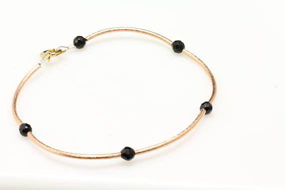 azabache/Jet Bracelet. Listing 548922634 | Faceted bead