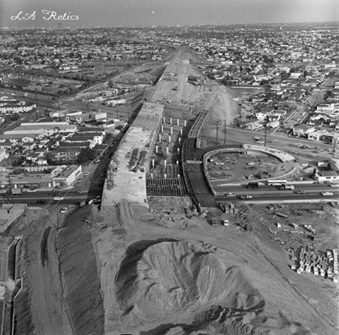 Construction work for the Santa Monica Freeway at La Cienega and Venice Boulevards in 1964. Source: UCLA Library, Los Angeles Times Photographic Archive