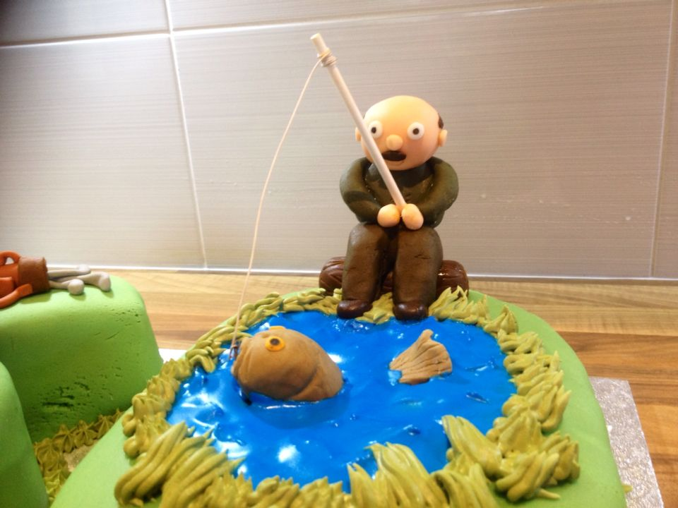 Golf And Fishing 60th Birthday Cake For My Lovely Dad Close Up Of