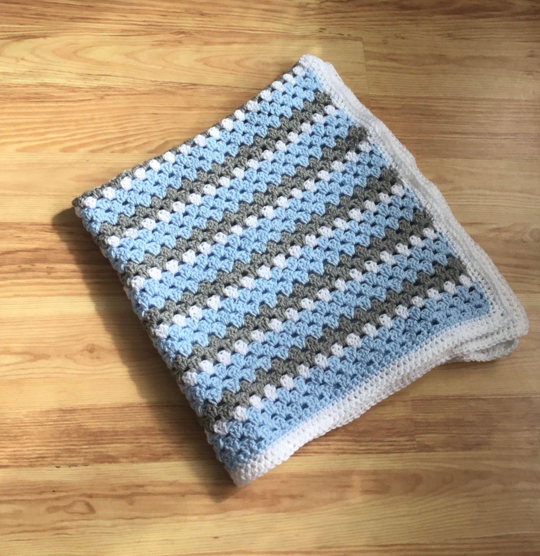 joined in blue Crochet blanket perfect lap afghan nursery blanket