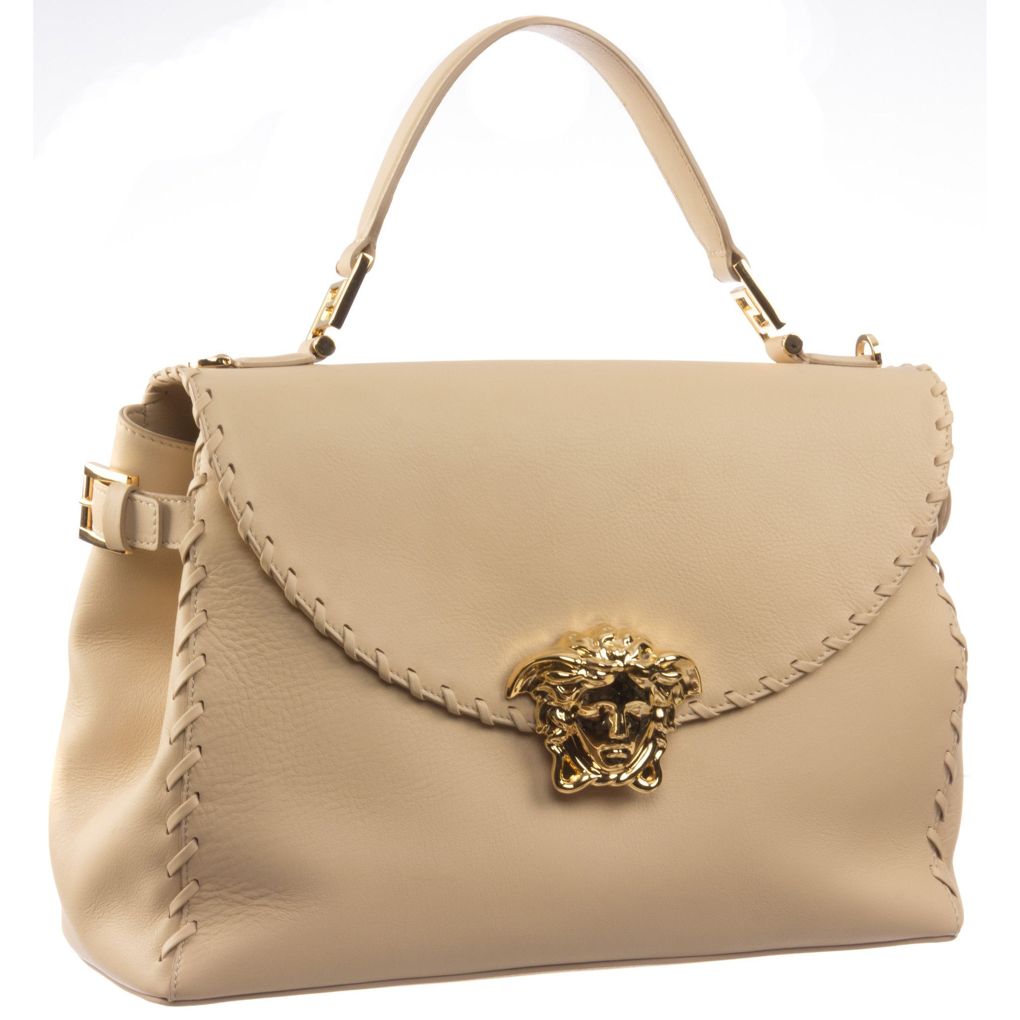 7c99846afcc0 Versace Signature Medusa Lock Leather Handbag-D420H