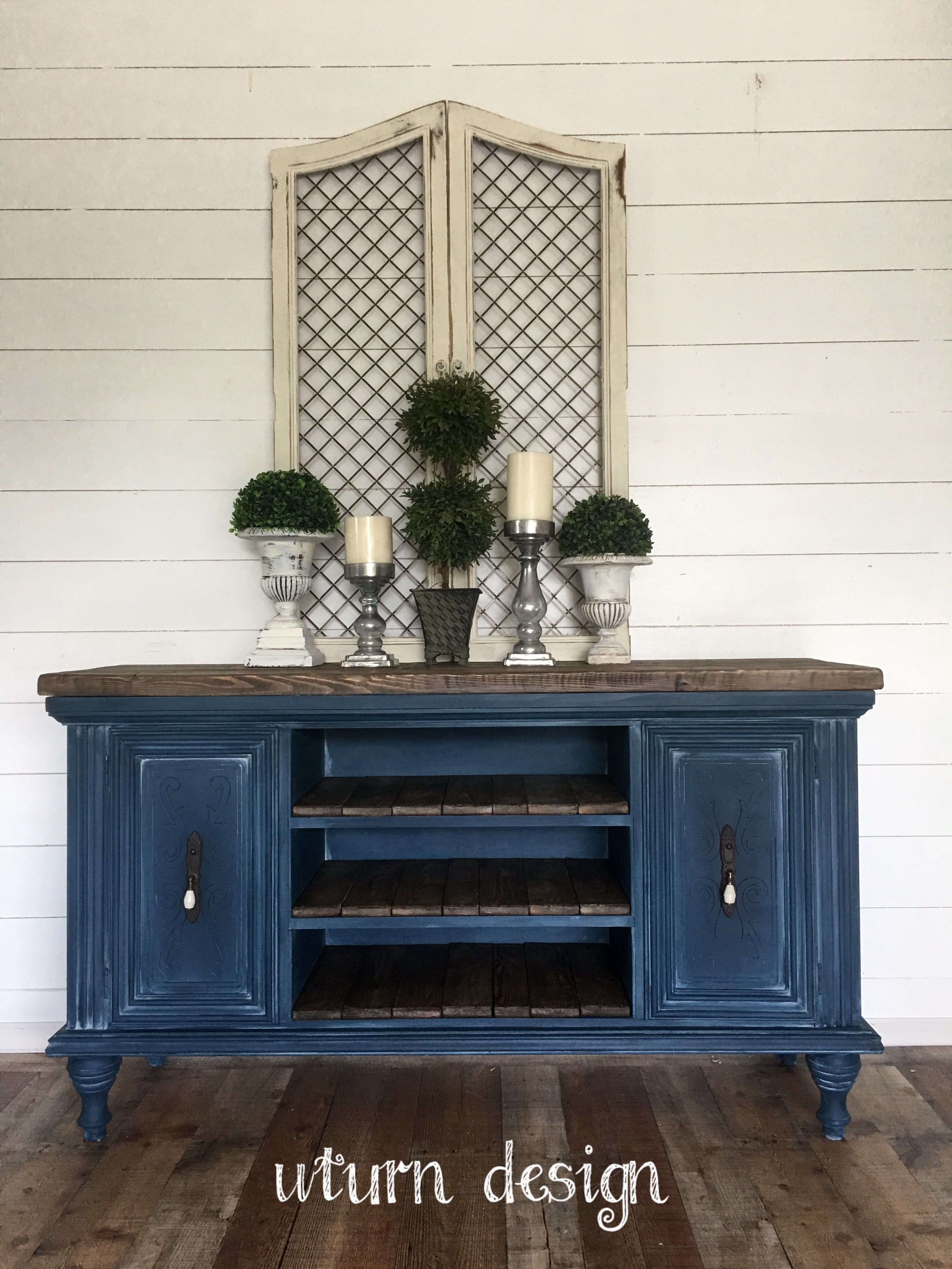 Navy Blue Painted Tv Stand By Uturn Design Refurbished Furniture