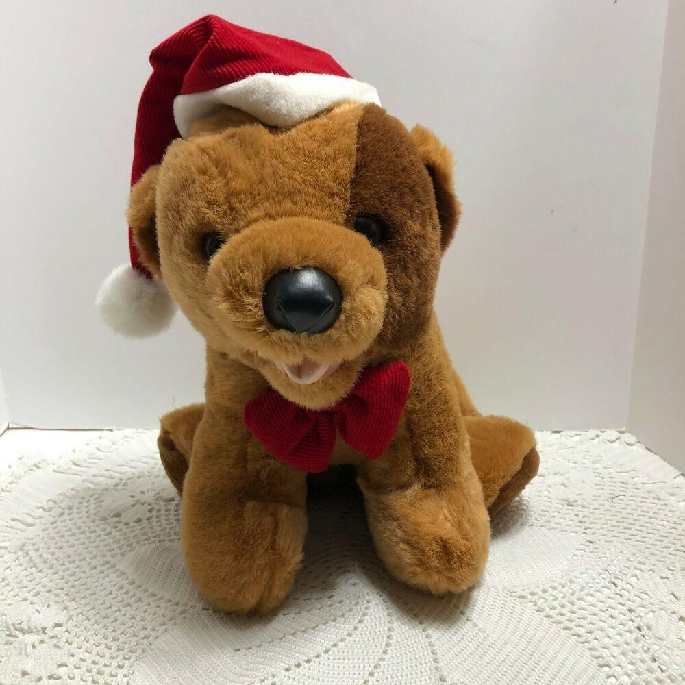 Vtg Plush Musical Christmas Dog Brown Barks Christmas Carols Santa Hat Bow Unbranded Musical Stuffed Animals Christmas Dog Animal Plush Toys [ 1000 x 1000 Pixel ]